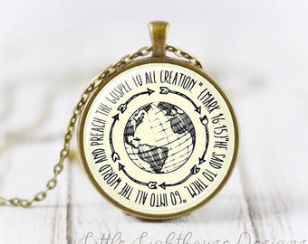 Large Go Into All The World Pendant Necklace Regions 1 Necklace Christian Pendant Necklace Missionary Necklace Inspirational Gift