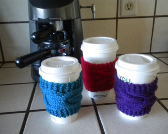 Hand Knit Cable Coffee Cup Sleeve Cozy
