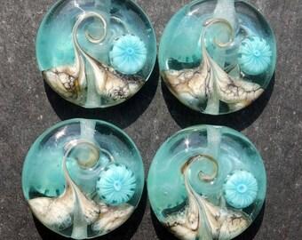 Lampwork Large Sprees (4) Watery Wave w/teal murrine