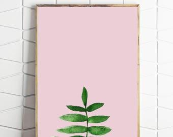 tropical leaf art, tropical leaf print, tropical leaf decor, tropical leaf pink, tropical leaf download, tropical leaf wall art