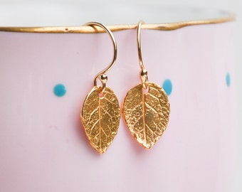 Tiny Leaf Earrings 24K Gold Leaf Earrings Woodland Jewelry Gift for Her Forest Twig Bridesmaid Gift Autumn Earrings Gold Leaf Jewelry