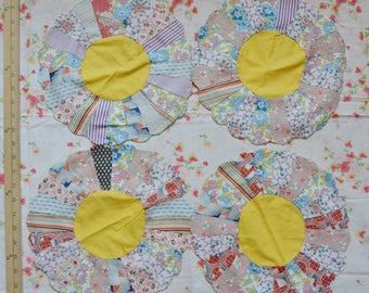 30s quilt appliques feedsack DRESDEN plate cotton feedsack fabric appliques Dresden