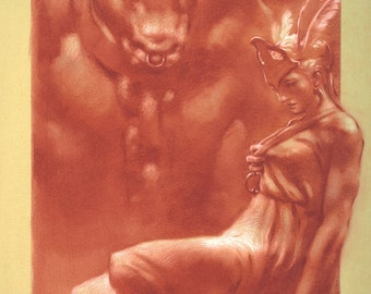 Postcard - Keeper of Knossos - Minotaur and beautiful ancient Greek lady - mini art print of a conte drawing