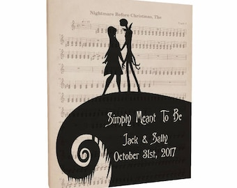"""The Nightmare Before Christmas Art Canvas Personalized With Names And Date """"Simply Meant To Be"""" Jack and Sally Quote Wedding Engagement Gift"""