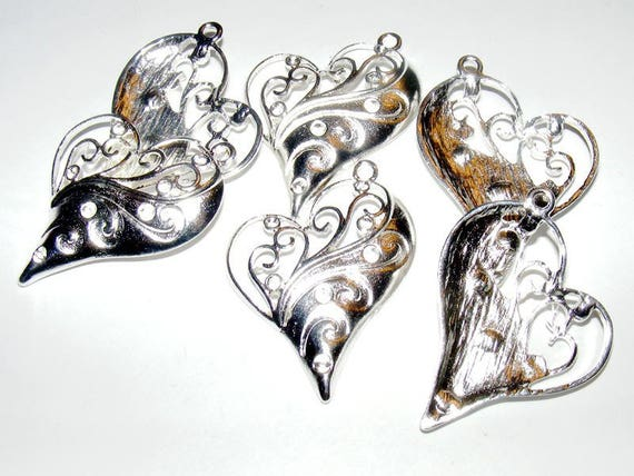 Charm large 36 mm silver heart clear x 1