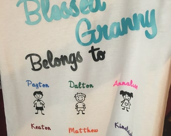 Blessed Granny Mommy Personalized shirt with names