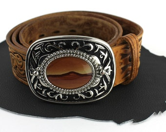 Thunderbird Tooled Brown Leather Belt with Brown Stone Buckle Unisex size 34 inches to 38 inches