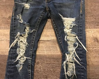 Girls Destroyed Jeans Size 6 Regular