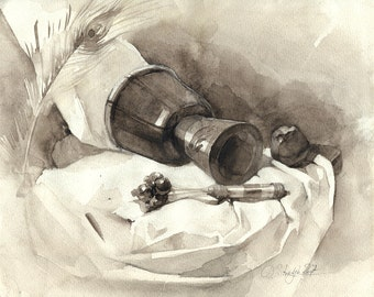 Stillife with the hand drum, sepia watercolor - original painting with musical instruments, paper
