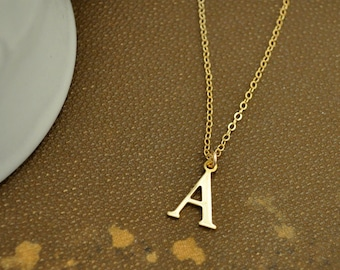TINY INITIAL NECKLACE vintage brushed brass letter charm necklace on 14k gold filled chain, holiday special