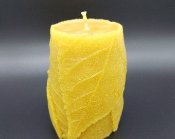 Leaf Pillar Candle - 100% Pure Beeswax