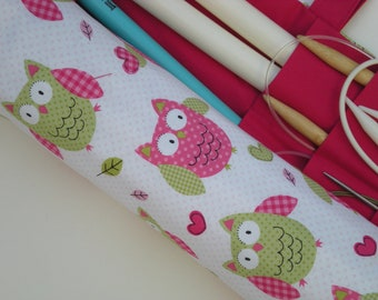 large knitting needle organizer - knitting needle case - owls in pink and green- 36 pockets