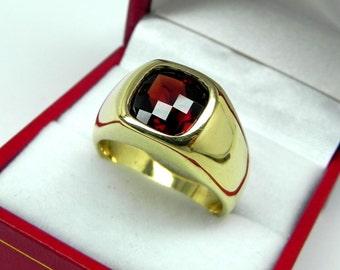 AAAA Red Almandine Garnet   9x9mm  3.16 Carats   Heavy 14K Yellow gold Cushion Checkerboard cut Mans Ring 20 grams 2260