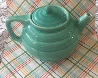 Free Shipping Retro Vintage Turquoise Pottery Ribbed Ring-ware Teapot Mid-century