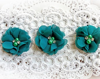 Reneabouquets Flower Set -Fall Colors - Peacock Chiffon, Pearl And Rhinestone Fabric Flowers