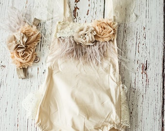 Baby Romper, First birthday Outfit Girl, Boho Birthday Outfit, Champagne Romper, Baby Girl's Romper,Romper Headband Set,Baby Girl Outfit Set