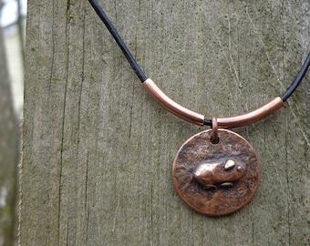 Copper Guinea Pig Necklace - Small Copper Pendant on Thin Black Leather Cord