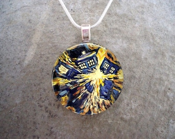 Doctor Who Jewelry - Glass Pendant Necklace - Exploding Tardis - Vincent Van Gogh