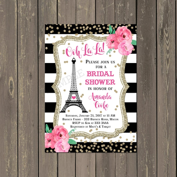 Paris bridal shower invitation french eiffel tower shower like this item filmwisefo