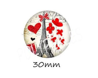 1 cabochon 30mm glass EIFFEL Tower poppy