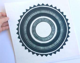 linocut - SUN // 12x12 art print // printmaking // block print // dark green // geometric // celestial // mandala // 10x10 // moon