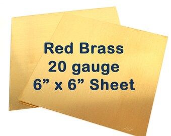 Red Brass Sheet Metal - 20 Gauge - 6 x 6 Inches - Choose Your Quantity