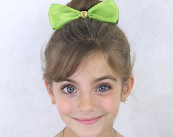 Green Ponytail Bow - Lime Green Boutique Hair Bow Elastic - Apple Green Gold Hair Bow