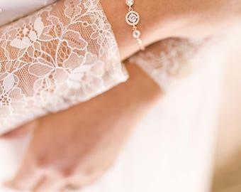 Bridal bracelet Cz cubic, rose gold bridal Bracelet, Bridal jewelry, Silver Bracelet, Wedding Bracelet, Bride Bracelet, Rose gold bracelet