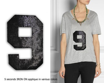 Iron On Number 9 Patch Applique for DIY Crafts and Home Decor