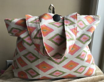 Orange, Pink and Green Diamond Market Bag, shopping bag, reusable, recycle, Grocery Sack