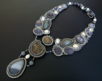 Victorian wedding necklace Ammonite statement necklace Labradorite bib necklace Beaded embroidered jewelry Unique necklaces for women