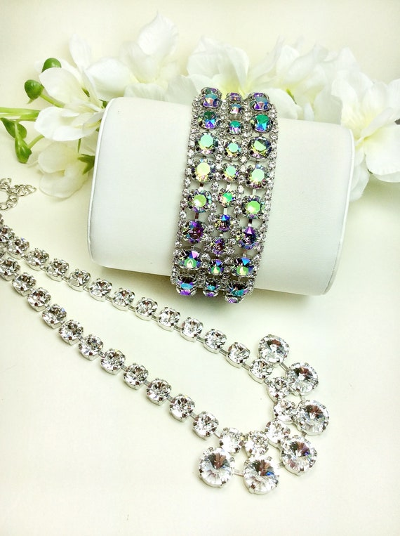 Swarovski Triple Row Paradise Shine & Crystal Bracelet - Absolutely Stunning Bridal Cuff -Designer Inspired - FREE SHIPPING