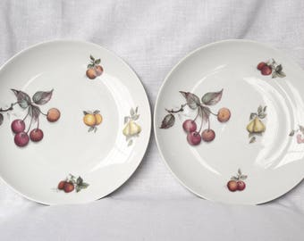 Two vintage English plates...small fruit plates...made in England...transfer ware plates...cherries, pears, strawberries.
