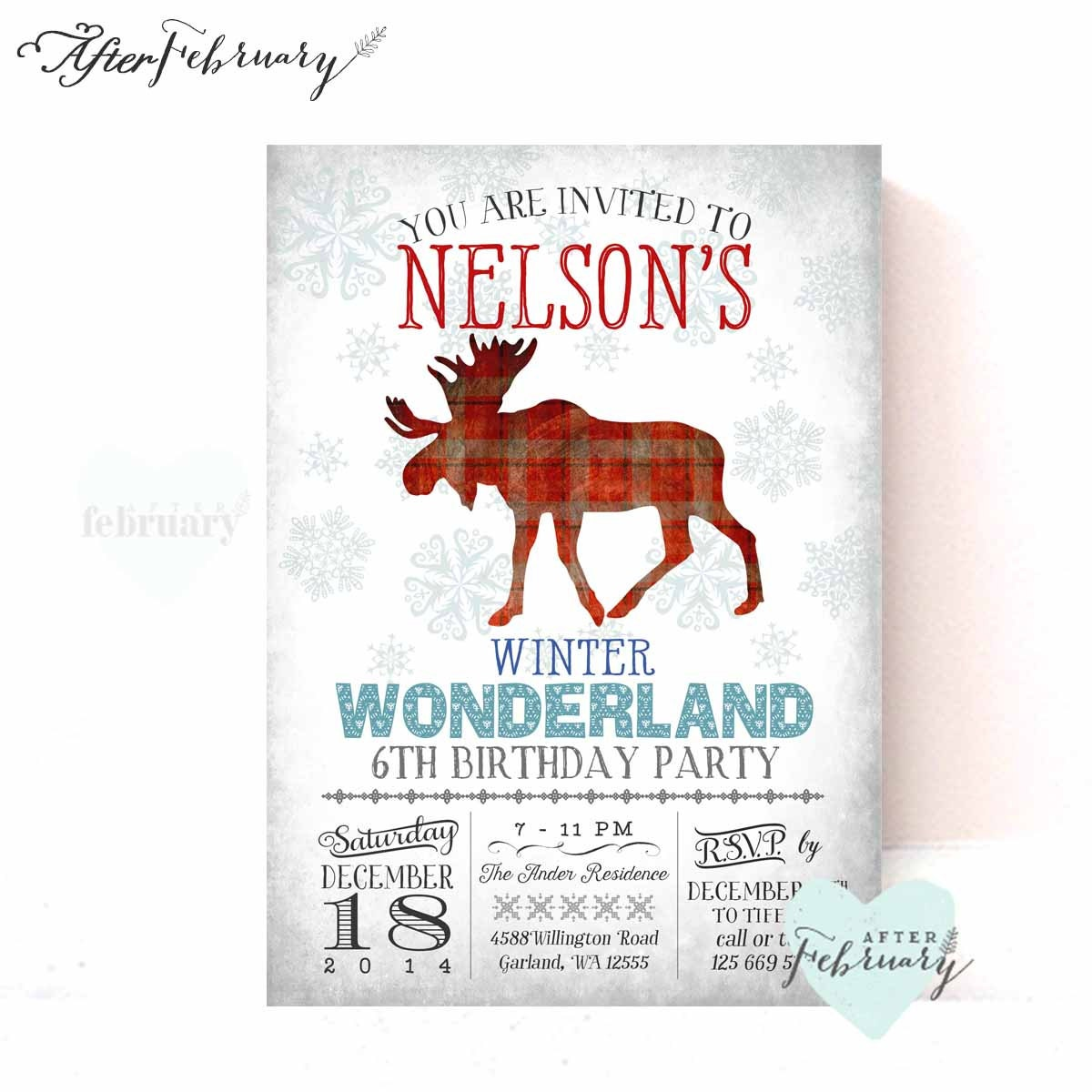 Boy Winter Wonderland Onederland Invitation First Birthday