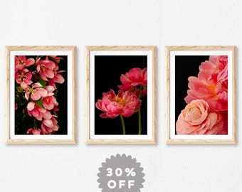 Set of 3 Prints, Dark Floral Print Set, Fine Art Photography, Wall Art, Nature Photography Prints, Moody Flower Prints, Gift for Her