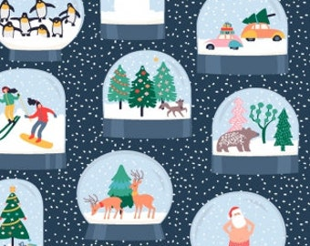 Snow Globes from Dear Stella's Waiting for Santa Collection 100% Cotton