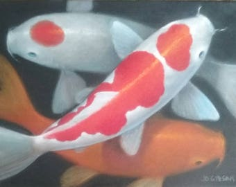 Original oil painting. 3 KOI, by JD Gibson