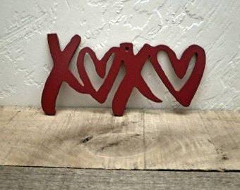 Love Decor XOXO Sign Hugs and Kisses Metal Wall Art Valentine's Decor Master Bedroom Decor Heart Decor Metal Word Art Cutout Love Sign
