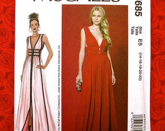 McCall's Sewing Pattern M7685 Formal Evening Gown Deep V Neckline, Plus Sizes 14 16 18 20 22, Sleeveless Gathered, Wedding Bridesmaid, UNCUT