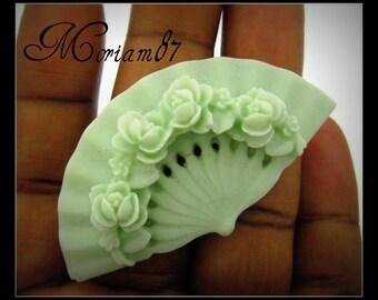 3 Mint Green Oreintal Rose Fan Cabochons