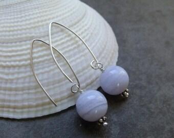 Blue Lace Agate Grade A Gemstone Sterling Silver Drop Earrings