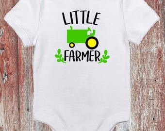 Little Farmer with Tractor Infant Bodysuit or Toddler Tshirt