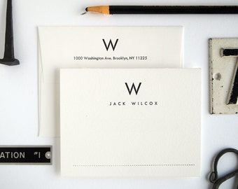 Custom Letterpress Stationery Set - Mid-Century Modern Folded Stationery - UTILITY