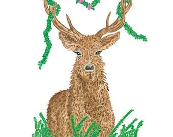 Ltd Edition - A4 & A3 Canvas Print - Original Artwork - Deer