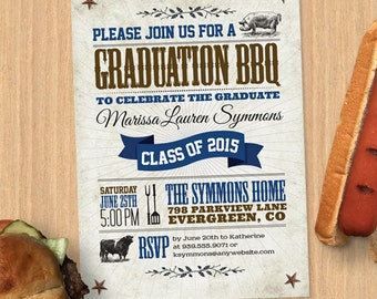 BBQ Graduation Party Invitation and Announcement, Printable, Evite or Printed (US Only) Invitation