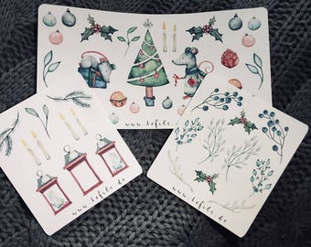 Christmas mouse sticker set
