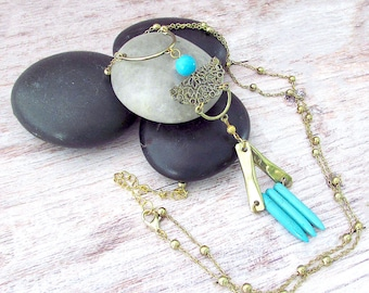 Boho Gemstone Layering Necklace - Womens Long Necklace - Bohemian Gifts for Her - Girlfriend Gifts Under 30 - Everyday Necklace - Turquoise