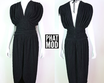 Vintage 70s 80s Black Soft Crinkle Deep V and Open Back Party Disco Dress
