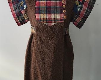 70s KENZO JAP art to wear FOLKLORIC wool coat / dress 1970s vintage designer