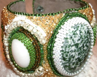 Green and White Tree Agate Cabashon Hand Bead Embroidered Beaded Cuff Bracelet